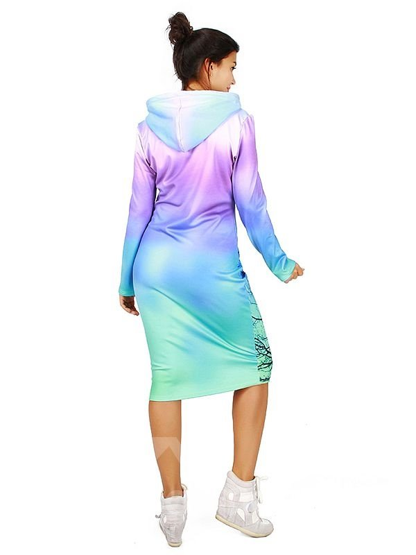 Charming Long Sleeve Tree Pattern 3D Painted Hoodie Dress