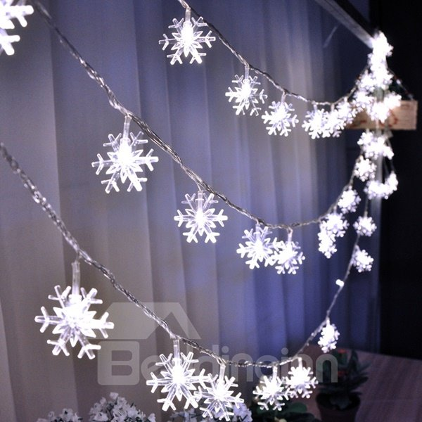 63 white christmas indoor and outdoor decoration 328ft snowflake shape led string lights - Snowflake Christmas Decorations
