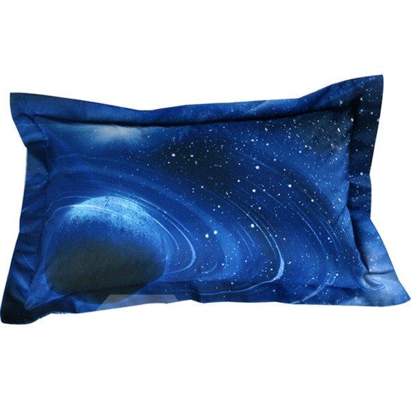 Fancy Celestial Body Print Blue 2-Piece Pillow Cases