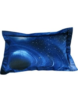 Fancy Celestial Body Print Blue 2-Piece Pillow Cases