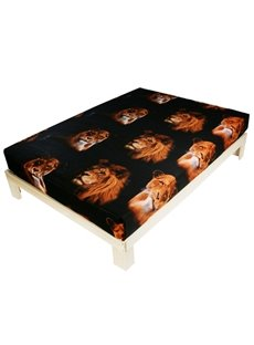 Unique 3D Lion Print Cotton Fitted Sheet