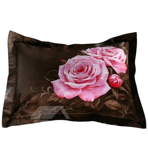 Charming Pink Rose Print 2-Piece Pillow Cases
