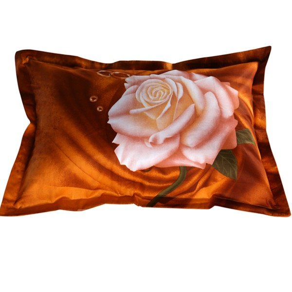 Chic White Rose Print 2-Piece Pillow Cases