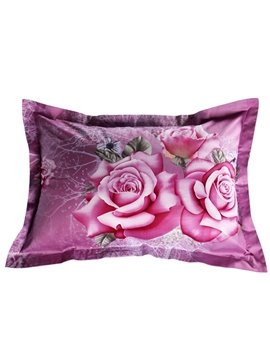 Excellent Pink Rose Print 2-Piece Pillow Cases