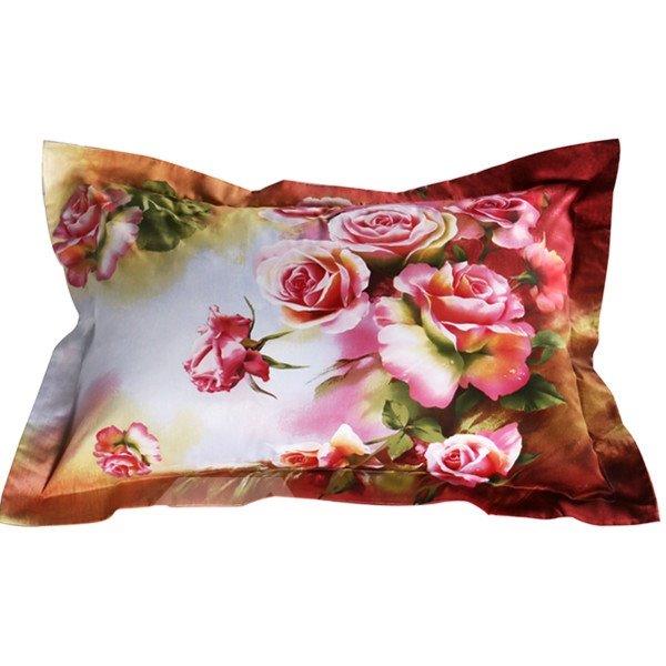 Beautiful 3D Pink Rose Print Cotton 2-Piece Pillow Cases