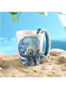 Amusing Creative Ceramic Blue 3D Octopus with Tentacle Handle Coffee Mug