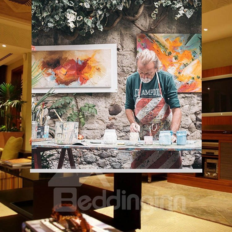 Painter on the Street Printing Blackout 3D Roller Shades