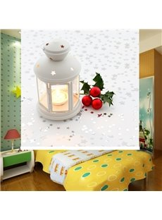 Cute Christmas Bell and Candle Light Printing Blackout 3D Roller Shades