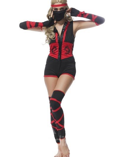 Vivid Fashional Black Red Mixed Ninja Modeling Cosplay Costumes