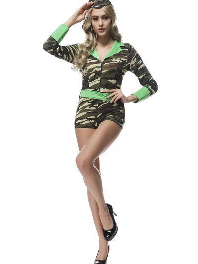 Army Green Short Tight Pant Sexy Uniform Cosplay Costumes