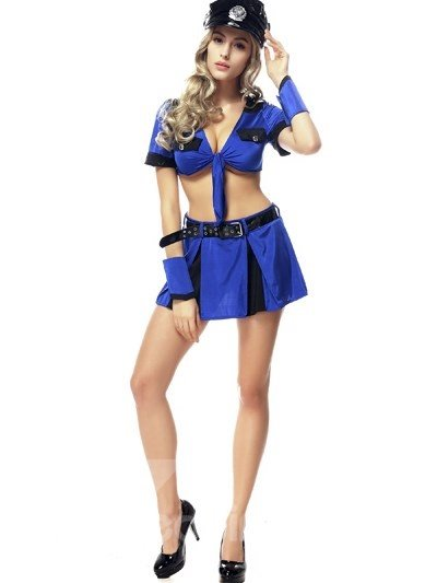 Sexy Charming Blue Coat And Skirt Uniform Girl Cosplay Costumes
