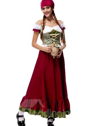 Elegant Solemn Big Red Skirt Beer Girl Modeling Cosplay Costumes
