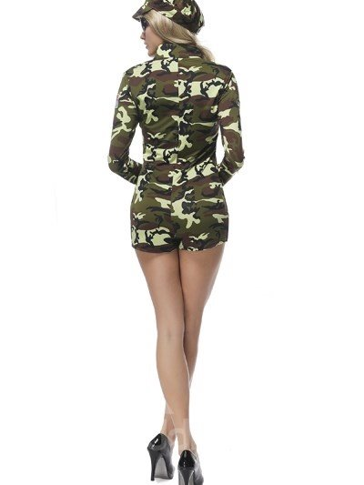 Sexy Short Pant With Army Green Pattern Uniform Cosplay Costumes