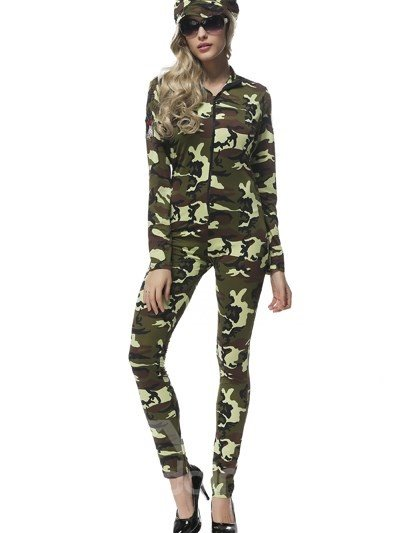 Fashion Cool Army Green Uniform Temptation Style Cosplay Costumes