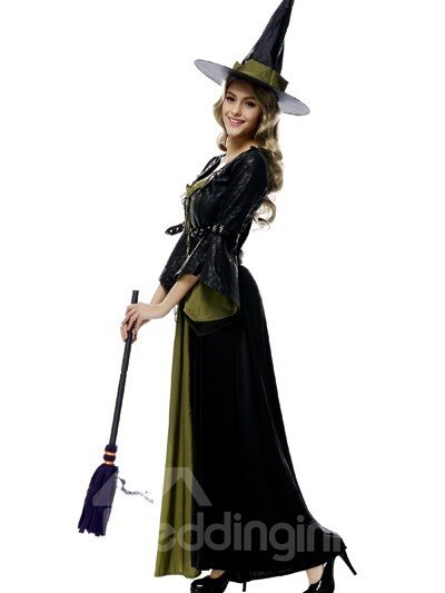 Classic Black Long Skirt With Conical Hat Popular Witch Modeling Cosplay Costumes
