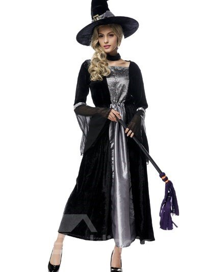 Cute Funny Witch With Mop Modeling Lovely Cosplay Costumes
