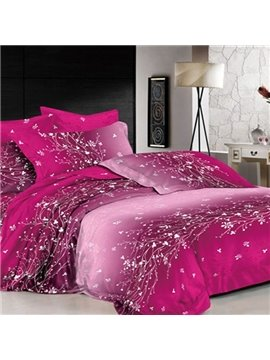 Dazzling Purple Flower Rattan Print 2-Piece Pillow Cases