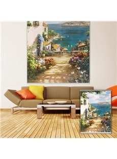 Oil Painting Country House with Flowers Printing Blackout 3D Roller Shades