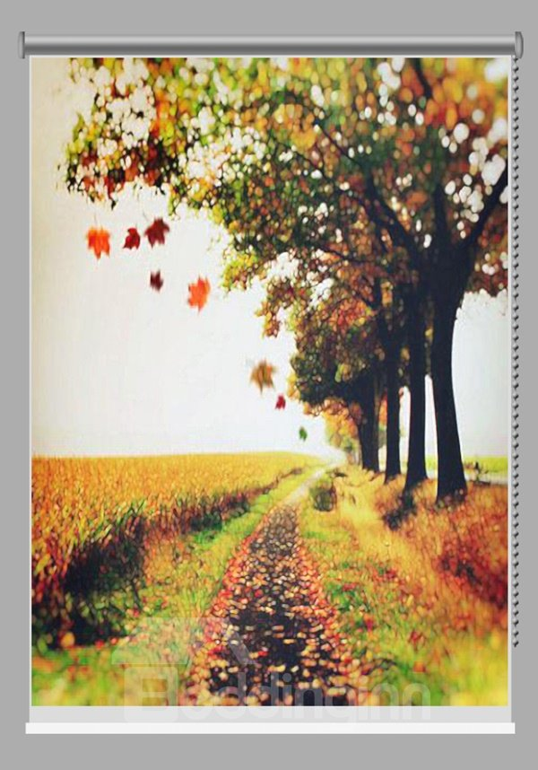 Oil Painting Countryside Path Printing Blackout 3D Roller Shades