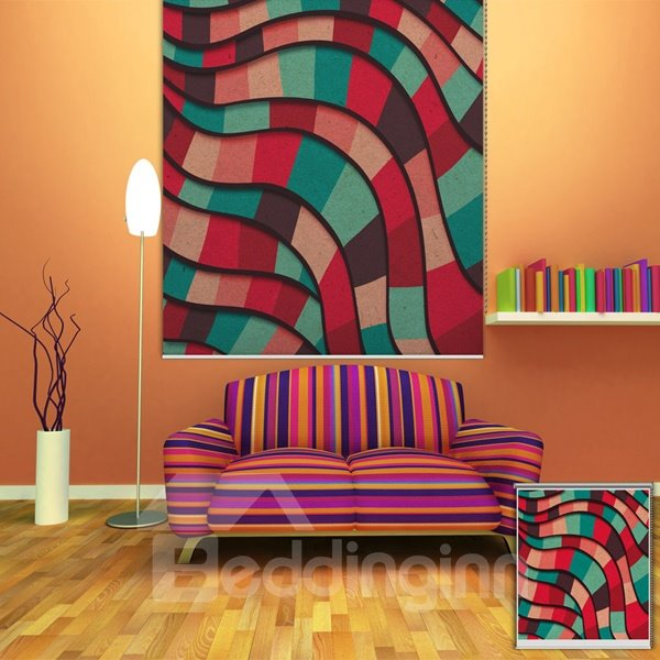 Colored Mosaics Wave Printing Blackout 3D Roller Shades
