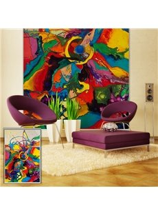 Abstract Color Block Oil Painting Art Printing Blackout 3D Roller Shades