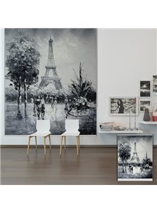 Retro Black and White Eiffel Tower Printing Blackout 3D Roller Shades