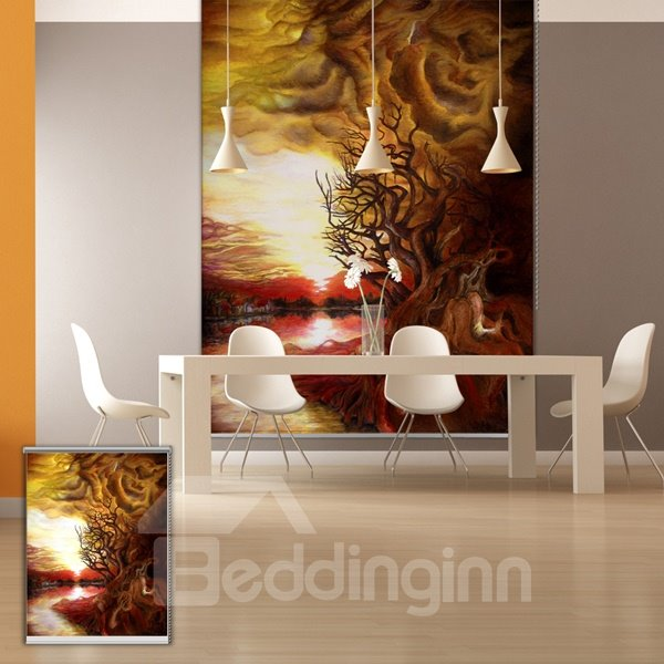 Modern Abstract Landscape Oil Painting Printing Blackout 3D Roller Shades