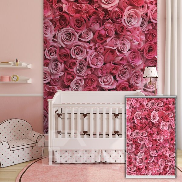 Beautiful Pink Roses Printing 3D Roller Shades