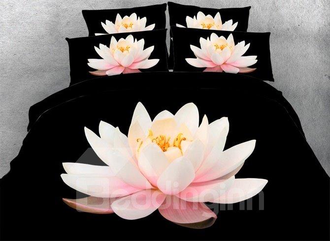 3D Pink Lotus Printed Cotton 4-Piece Black Bedding Sets/Duvet Covers