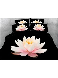 Excellent Pink Lotus Print 4-Piece Duvet Cover Sets