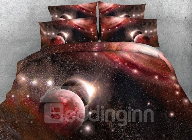 3d Red Galaxy Planet Printed 5 Piece Comforter Sets Pic