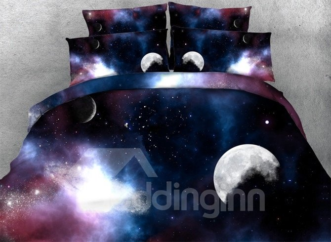 3d Moon Galaxy Printed 5 Piece Comforter Sets Pic