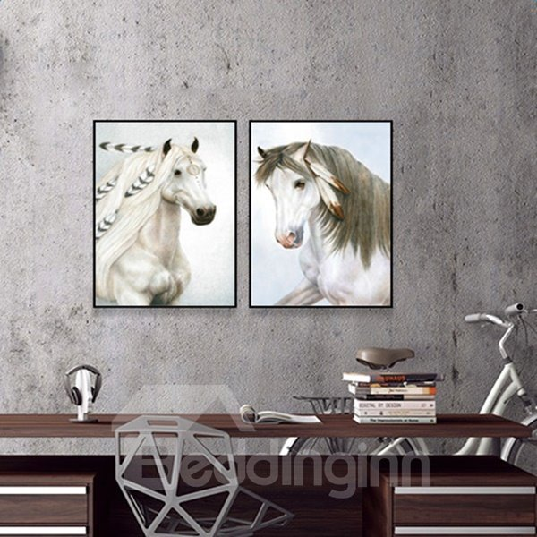 Rectangle Two White Horse Pattern Framed Canvas Home Decor Wall Art Prints