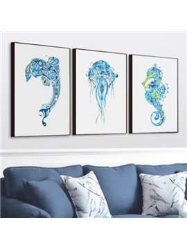 Blue European Style Marine Animals Pattern 3-piece Framed Waterproof Wall Art Prints