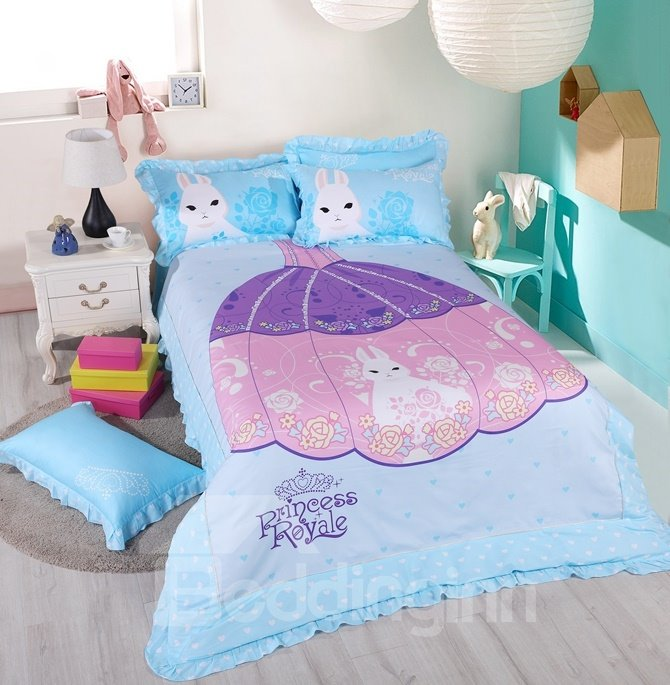 Princess Sisi Pattern Kids Cotton 4-Piece Duvet Cover Sets