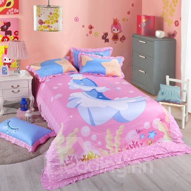 Mermaid Princess Pattern Kids Cotton 4 Piece Duvet Cover