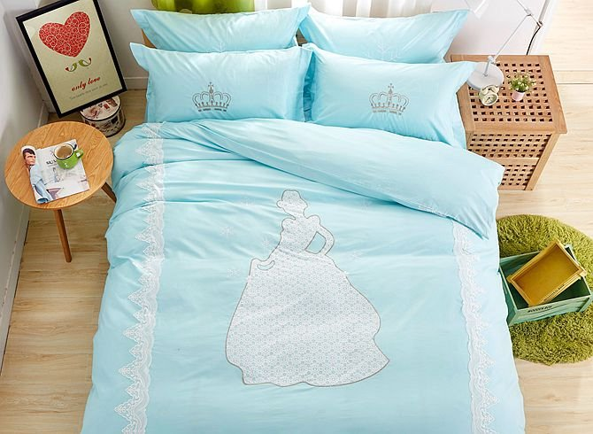 Fancy Snow Princess Pattern Kids Cotton 4-Piece Duvet Cover Sets