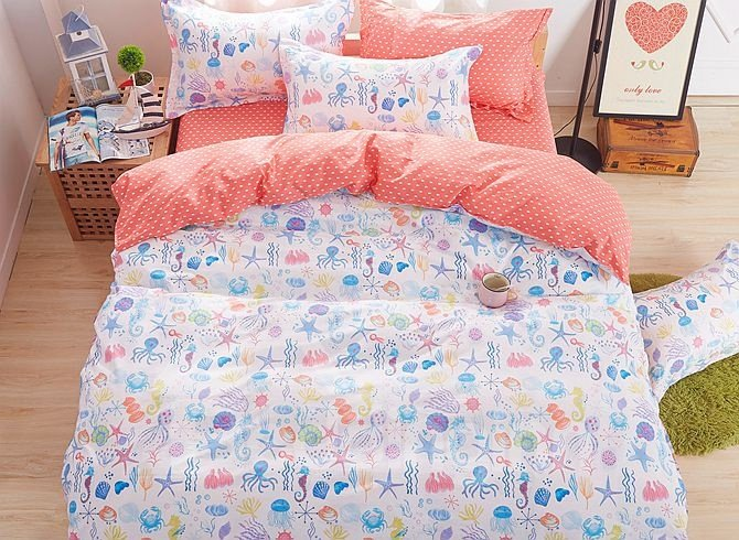 Ocean World Pattern Kids Cotton 4-Piece Duvet Cover Sets