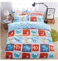 Jurassic Period World Pattern Kids Cotton 4-Piece Duvet Cover Sets
