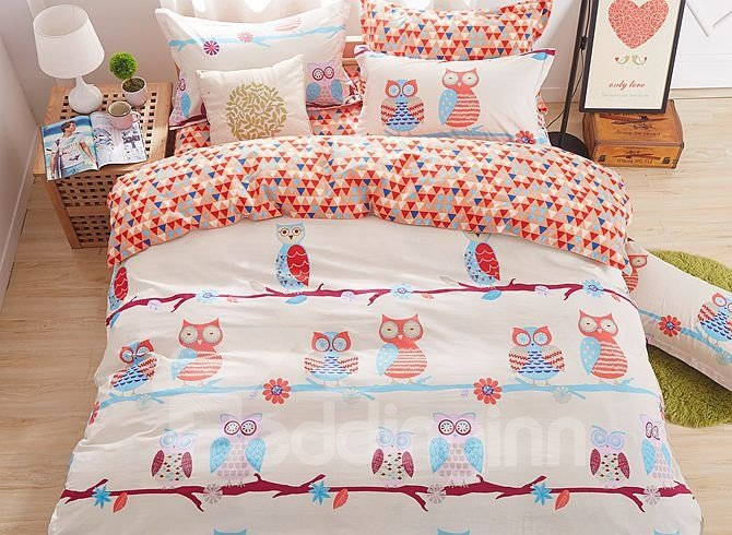 Lovely Cartoon Owls Pattern Kids Cotton 4-Piece Duvet Cover Sets