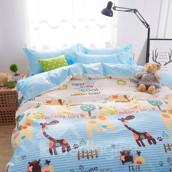 Lovely Cartoon World Pattern Kids Cotton 4-Piece Duvet Cover Sets