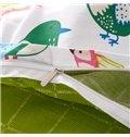Cute Larks Pattern Kids Cotton 4-Piece Duvet Cover Sets