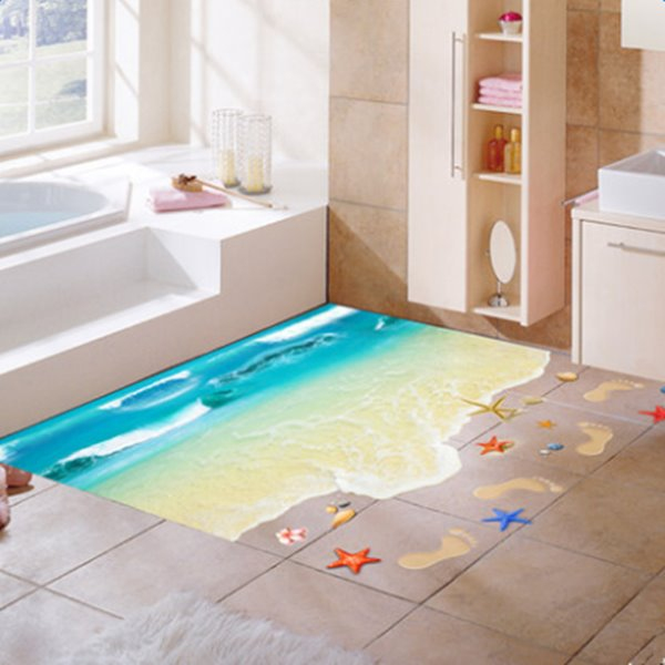 71 Fantastic Beach And Footprints Pattern Home Decoration 3D Floor Stickers