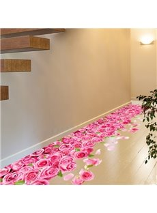 Romantic Pink Roses Pattern Home Decoration Floor Stickers