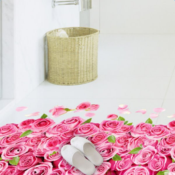 39×23in Pink Roses and Green Leaves 3D PVC Floor/Wall Stickers