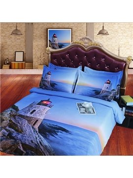 Lighthouse Sea Scenery Print Blue Fitted Sheet