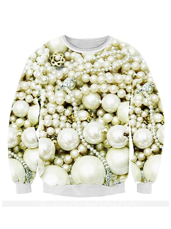 Popular Long Sleeve Pearl Pattern 3D Painted Hoodie