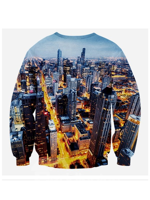 Fashion Long Sleeve Cat Pattern Buildings Background 3D Painted Hoodie