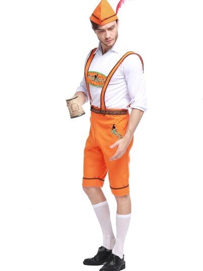 Bright Orange Color Beer Boy Modeling Cosplay Costumes