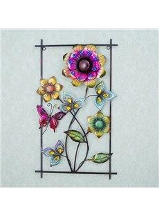 Rectangle Iron Beautiful Flower Pattern 3D Wall Stickers